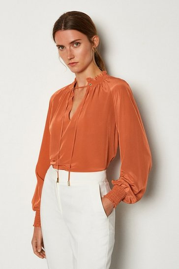 Tan Volume Sleeve Blouse