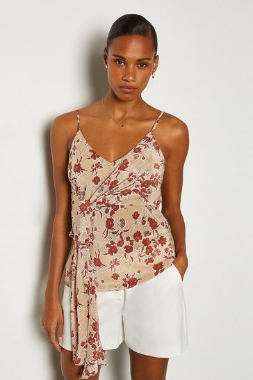 Natural Printed Tie Front Cami