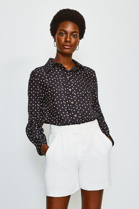 Black Silk Spot Print Long Sleeve Shirt