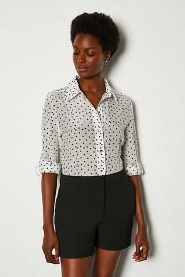 White Silk Spot Print Long Sleeve Shirt