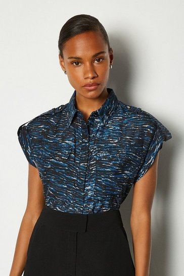 Blue Silk Sleeveless Printed Shirt