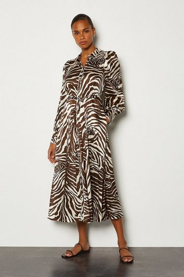 Silk Zebra Print Long Button Up Dress
