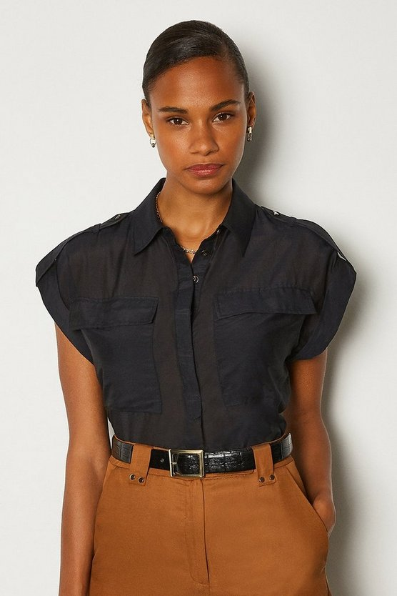 Navy Silk Sleeveless Shirt With Pockets