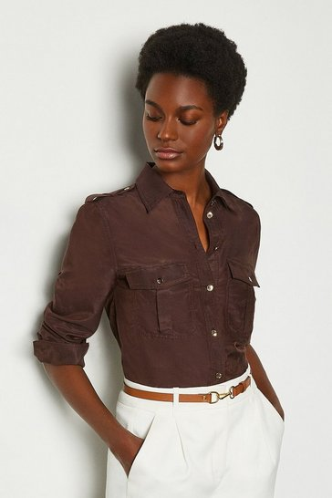 Chocolate Silk Cotton Shirt With Pockets