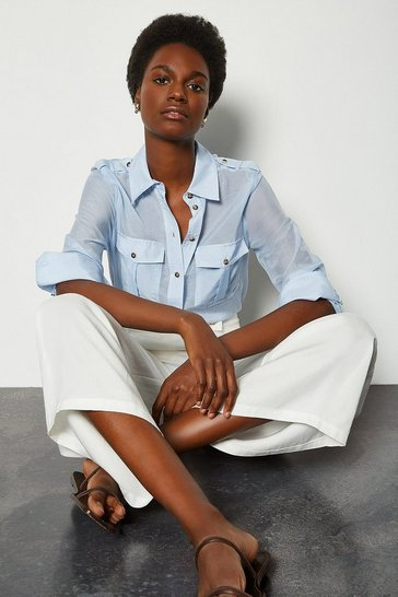 Pale blue Silk Cotton Shirt With Pockets