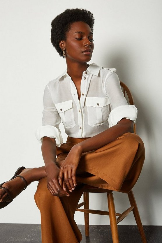 White Silk Cotton Shirt With Pockets