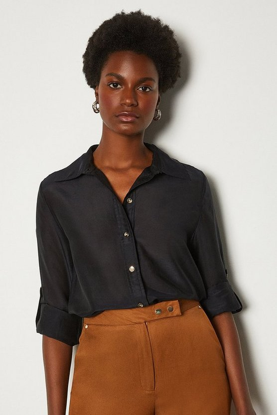 Black Plain Silk Cotton Shirt