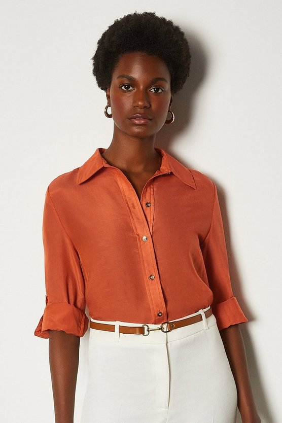 Tan Plain Silk Cotton Shirt