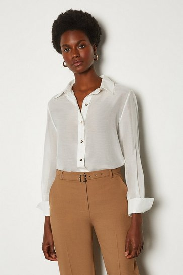 White Plain Silk Cotton Shirt