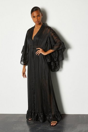 Black Kimono Long Dress