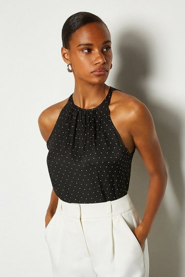Black Spot High Neck Shell Top
