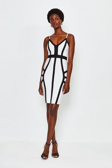Blackwhite Mono Seamed Bandage Dress