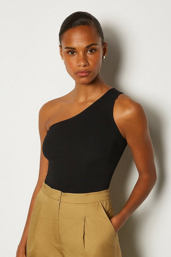 Black One Shoulder Knit Top