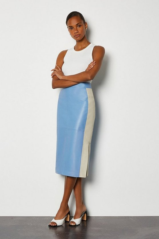 Pale blue Colourblock Leather Pencil Skirt