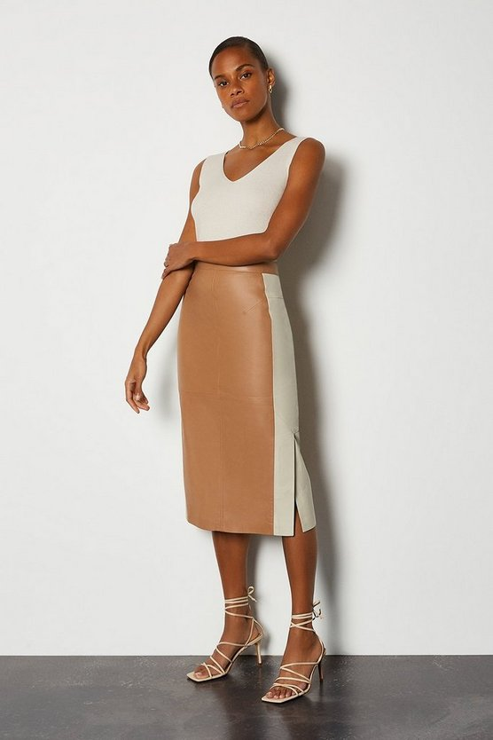 Tan Colourblock Leather Pencil Skirt