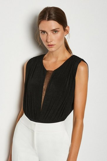 Black Sleeveless Ruched Jersey Bodysuit