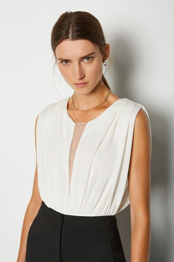 Ivory Sleeveless Ruched Jersey Bodysuit