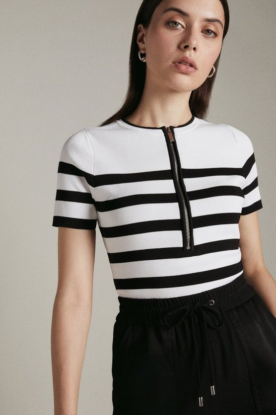 Blackwhite Nautical Zip Front Knit Top