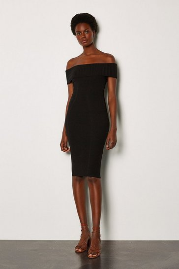 Black Bardot Knit Dress