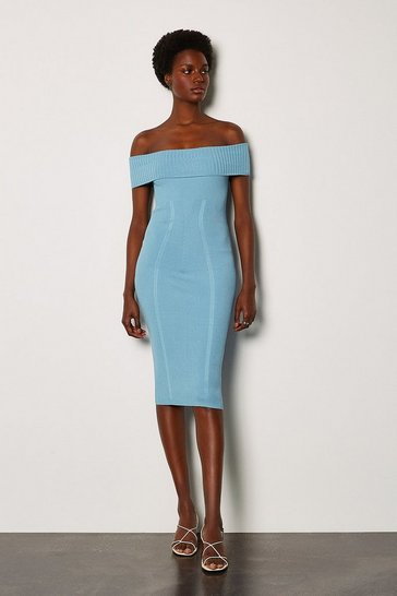 Pale blue Bardot Knit Dress