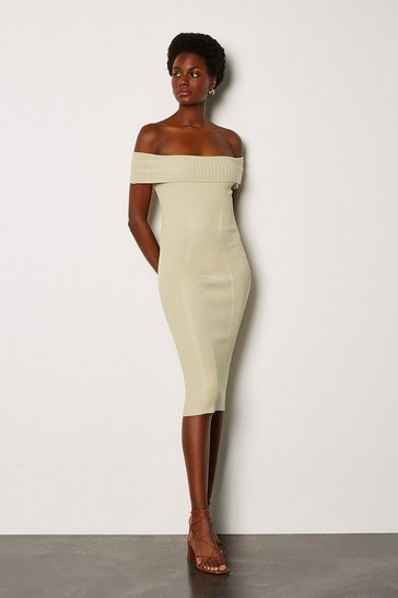 Stone Bardot Knit Dress