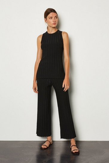 Black Wide Rib Knit Trouser