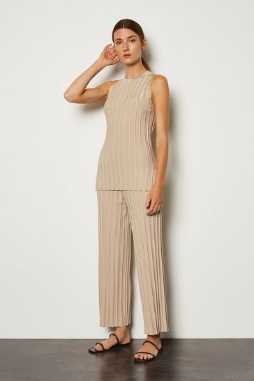 Stone Wide Rib Knit Trouser
