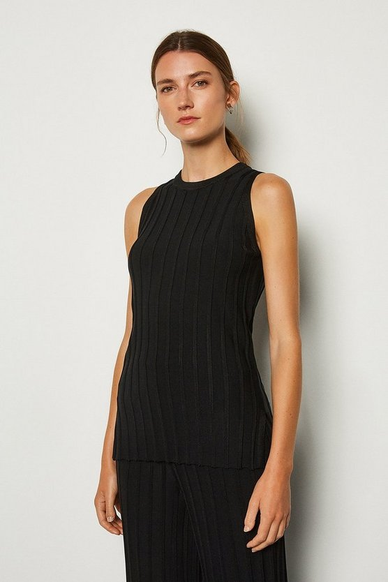 Black Wide Rib Knit Sleeveless Top