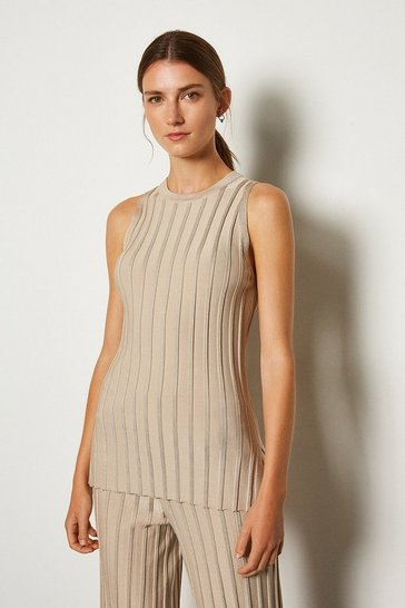 Stone Wide Rib Knit Sleeveless Top