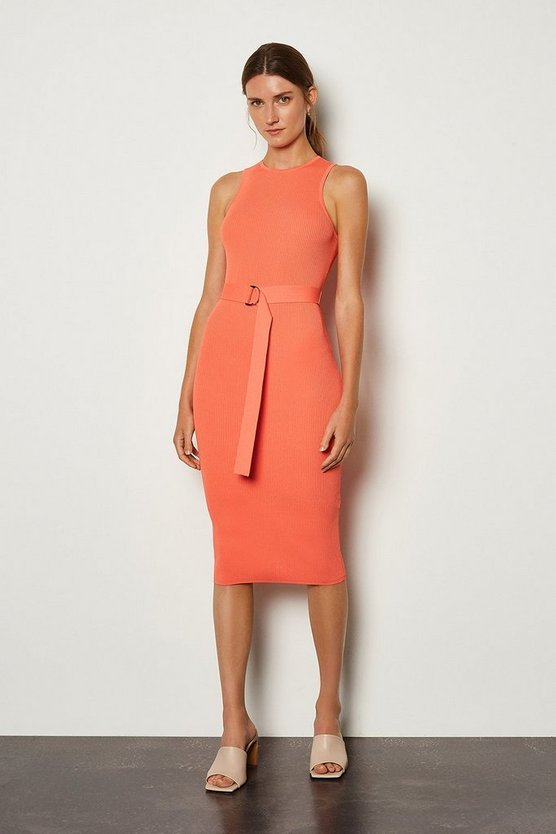 Apricot Racer Rib Knit Dress