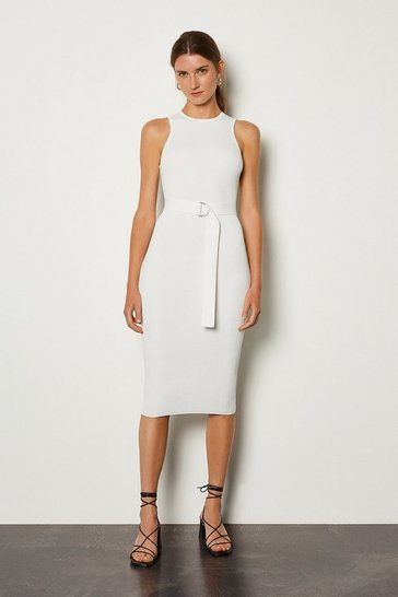Ivory Racer Rib Knit Dress