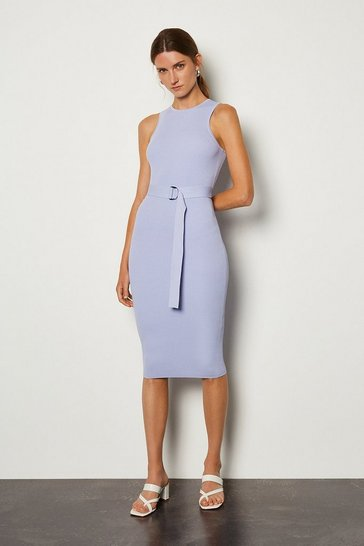 Pale blue Racer Rib Knit Dress