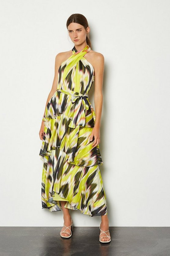Lime Halter Printed Tiered Maxi Dress