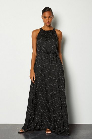 Black Printed Spot Maxi Dress