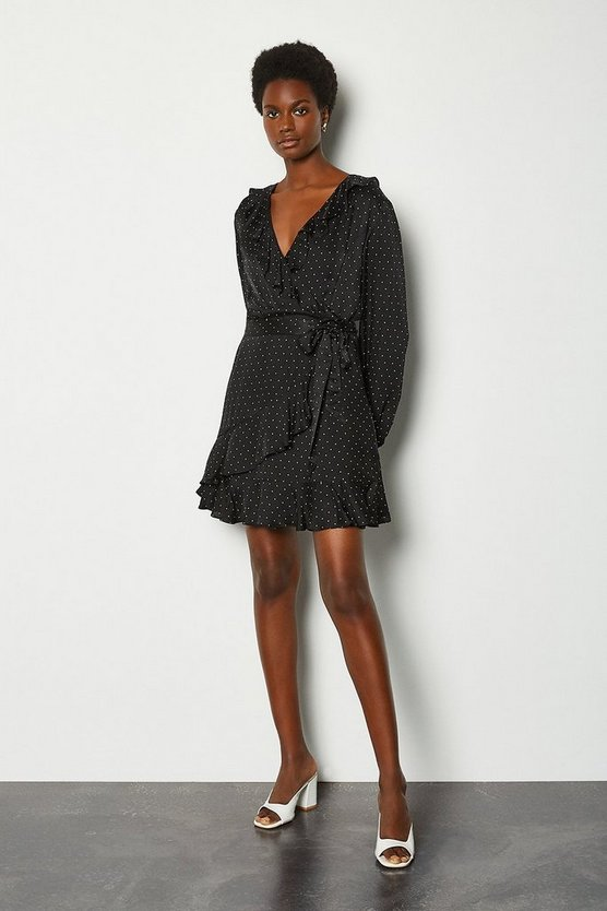 Black Spot Jacquard Wrap Front Short Dress