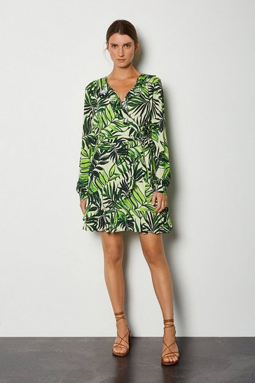 Green Wrap Front Long Sleeve Mini Dress