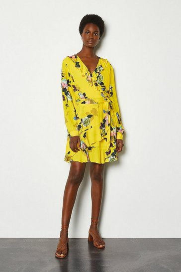 Yellow Wrap Front Long Sleeve Mini Dress
