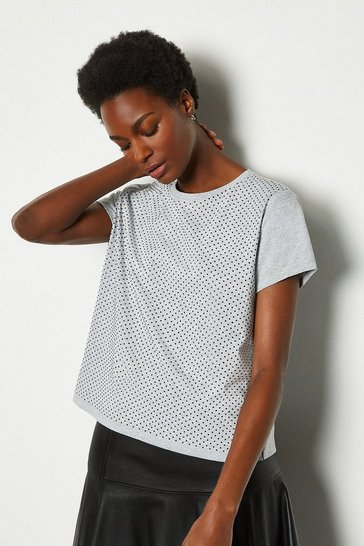 Grey Diamante Hotfix Detail T-Shirt