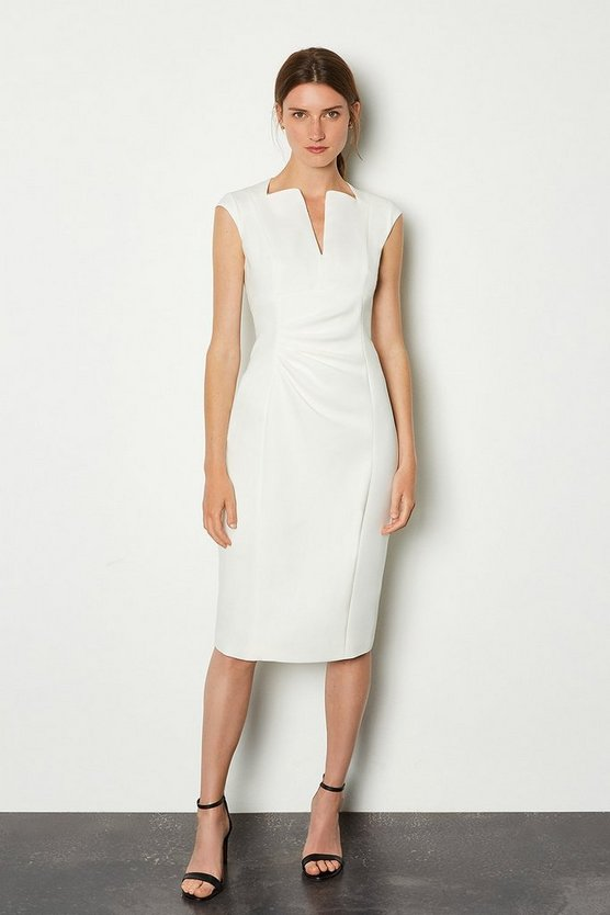 Ivory Envelope Neck Dress