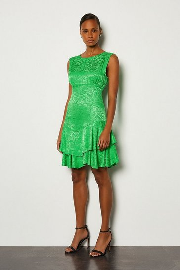 Green Animal Jacquard Sleeveless Short Dress