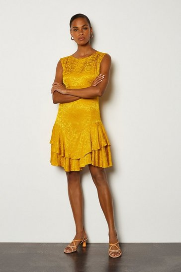 Mustard Animal Jacquard Sleeveless Short Dress
