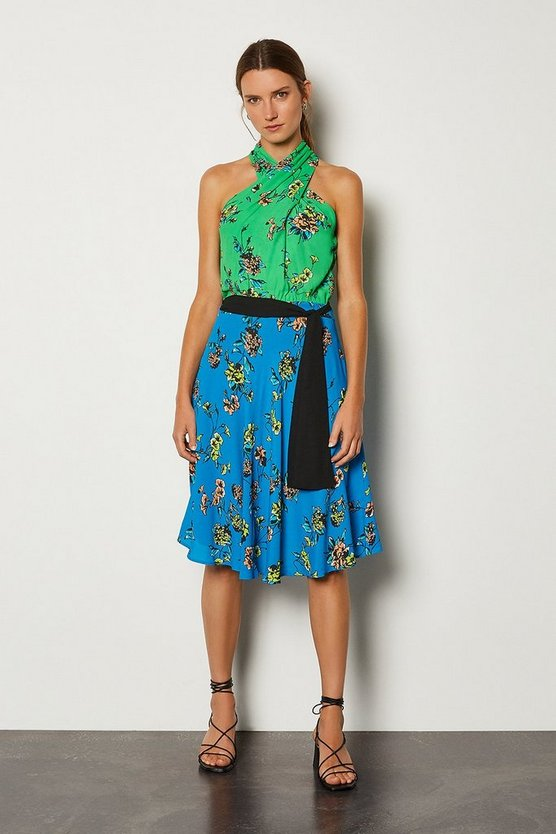 Blue Floral Halter Tie Waist Dress