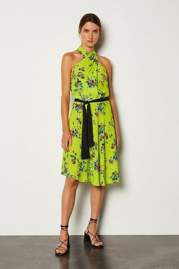 Yellow Floral Halter Tie Waist Dress