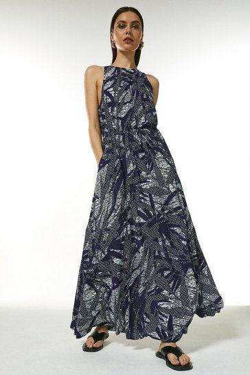Navy Long Batik Print Dress