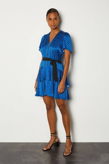 Blue Spot Print Zip Front Short Dress