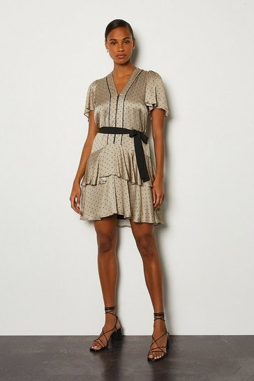 Grey Spot Print Zip Front Short Dress