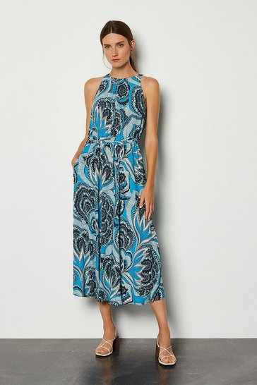 Blue Printed Drawstring Midi Dress