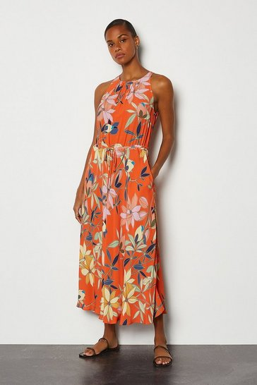 Floral Printed Drawstring Midi Dress