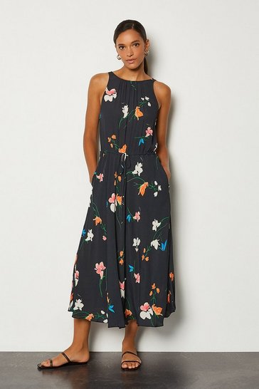 Multi Printed Drawstring Midi Dress