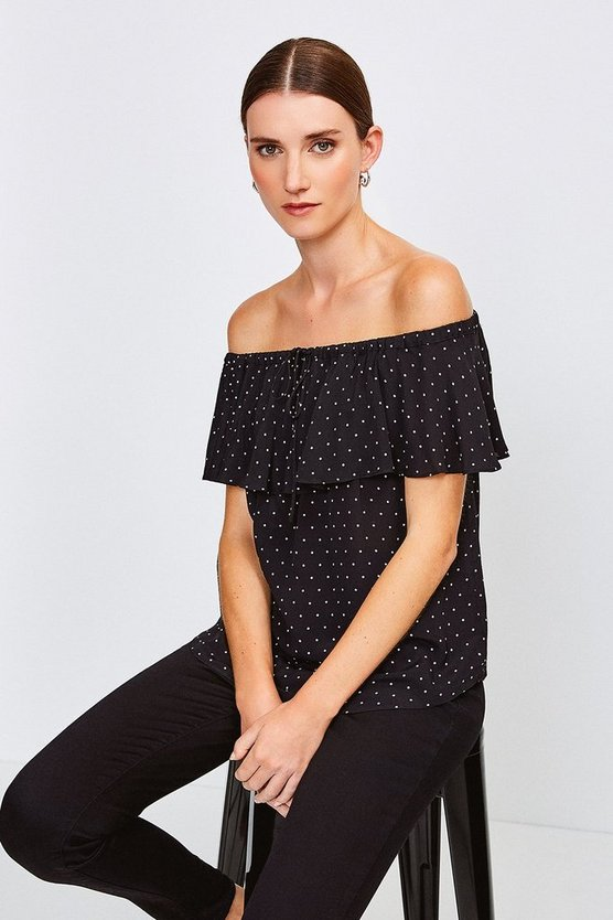 Black Printed Bardot Top With Tie Detail